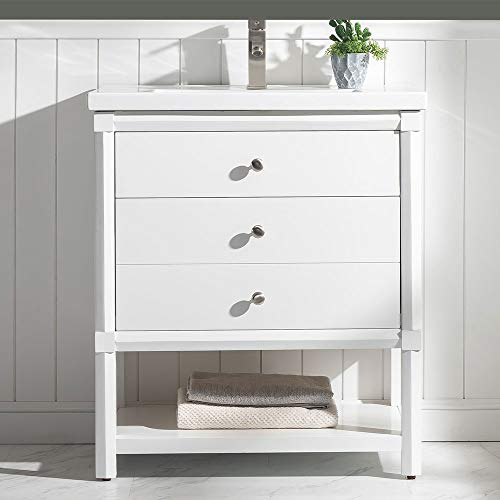 LUCA Kitchen & Bath LC30QWP Camille 30 in. W x 18.75 in. D Single Sink Console Vanity Set in Pure White Integrated Porcelain Top