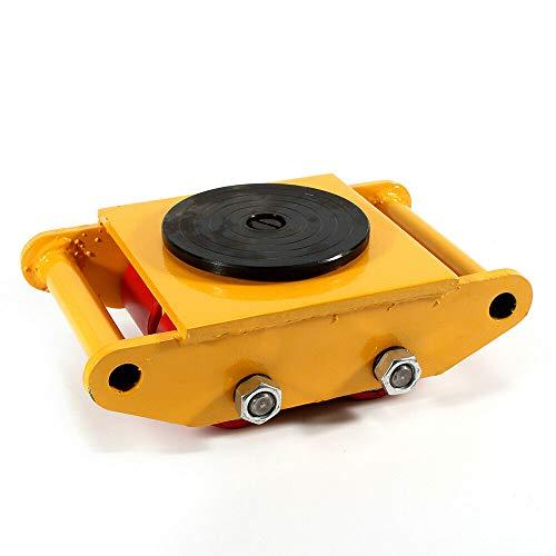 6T platform trolley, transporttrolley, draagkracht, gele industriële machine-maker met 360 ° draaidop Dolly Skate Machine Dolly Skate Roller