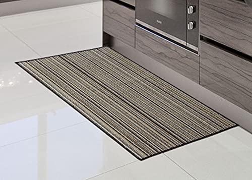 Alfombra de Cocina de Textil Resistente, Lavable   Base PVC Antideslizante y Aislante Diseño Clasico Color (MARRÓN, 40_x_70_cm)