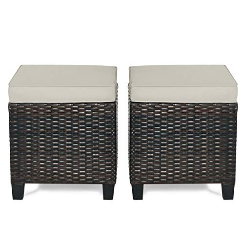2 Pcs Patio Rattan Ottoman Foot Rest with Cushioned Seat Home Yard