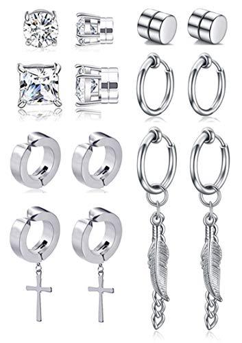 Ofeiyaa 7 Pairs Magnetic Stud Earring Stainless Steel CZ Clip On Earring Non- Piercing Huggie Cross Chain Pendant Earring Feather Hinged Hoop Earrings Set For Women Men Silver Tone.