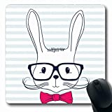 Jamron Mousepad Oblong 7.9x9.8 Inches On Cute Rabbit Hipster Hand Drawn Prints Isolated Animals Nother Wildlife Head Beauty Bow Fashion Non-Slip Rubber Mouse Pad Office Computer Laptop Games Mat