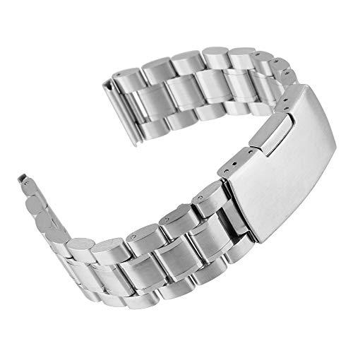 Beauty7- 16mm Breit Silber Edelstahl Uhrenarmband Uhrenarmbänder mit Faltschließe Metall Uhr Armband