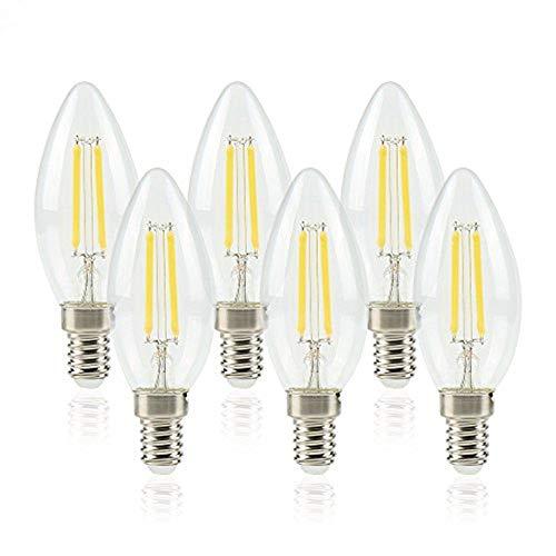 ELINKUME 6pcs LED Kerzenlampe 6W ersetzt 50W, E14, Kaltweiß 6500K, 440 Lumen, Kerze, E14 Fassung und 4 Docht