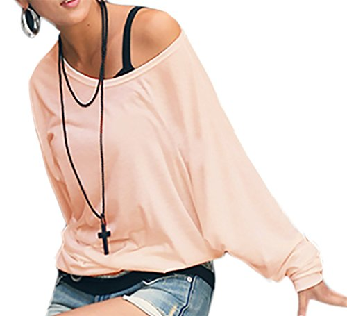 Mikos Damen Longshirt Super Lose Tunika Japan StyleSexy Longsleeve Schulterfreies Oversize!! Bluse Blouse Kimono S/M L/XL (157) (L/XL, Puderrosa)