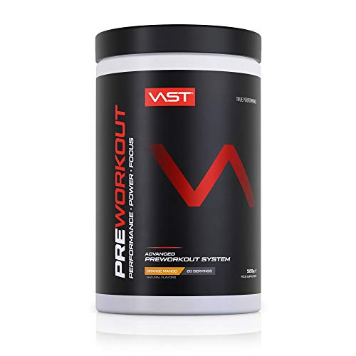 VAST Preworkout, high performance pre workout, focus and pump, sugarfree, vegan, made in Germany (orange mango, 20 servings).