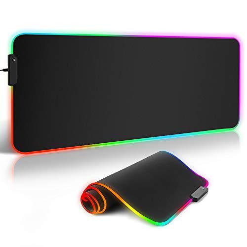 Tapis de Souris Gaming,ARCHEER Tapis de Souris XXL 800x300mm,Surface antiderapant et 12 Mode d'éclairage RGB 9 Couleurs Mouse Pad pour Ordinateur Portable PC Bureau