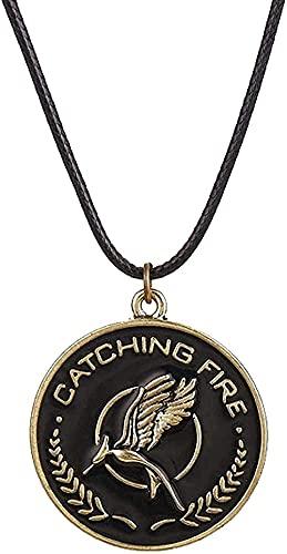 WYDSFWL Collar Mujer Hombre Moda Juegos del Hambre Collar pájaro águila Animal Logo Colgante Esmalte Moda Vintage película joyería Cuerda de Cuero Hombres Mujeres niños