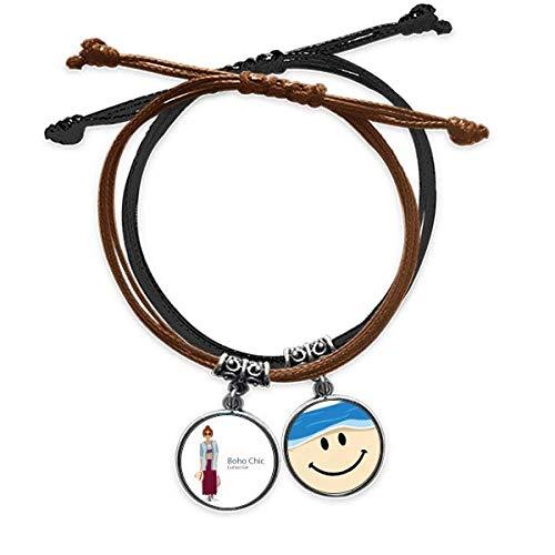 Bestchong Bohe mia Wind Fashion Cartoom Bracelet Rope Hand Chain Leather Smiling Face Wristband