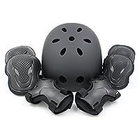 (エムズダイス)M's Dice ヘルメット & プロテクター 3点 セット ( 手首/ひじ/ひざ パッド ) 3カラー S~L サイズ スケボー ローラースケート (09.黒 Lサイズ)