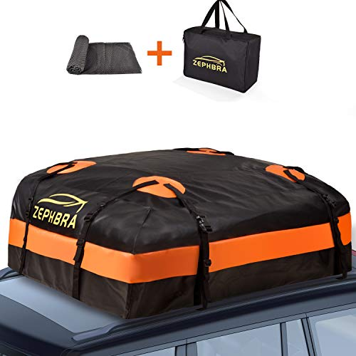 ZEPHBRA Car Roof Bag Cargo Carrier, 15 Cubic Feet Waterproof Rooftop Cargo Carrier with Anti-Slip Mat + 8 Reinforced Straps + 4 Door Hooks Suitable for All Vehicle with/Without Rack (Orange, 15 CU.FT)