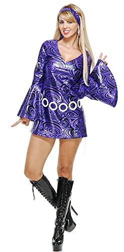 Charades Women's Purple Swirl Disco Diva Adult Sized Costumes, Small