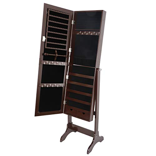 SUPER DEAL 2in1 Free Standing Jewelry Cabinet Lockable Full-Length Mirrored Jewelry Armoire with 5 Shelves Large Storage Capacity Organizer, 4 Angles Adjustable (Brown)