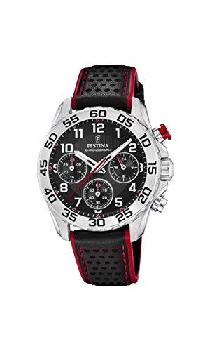 Festina Jungen Chronograph Quarz Uhr mit Leder Armband F20458/3
