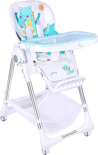 R for Rabbit Marshmallow High Chair for Baby, Multiple Recline Position, High Chair with 7 Level Height Adjustment and 3-Recline Modes with Adjustable Footrest, 6 Months to 5 Years (Light Blue)