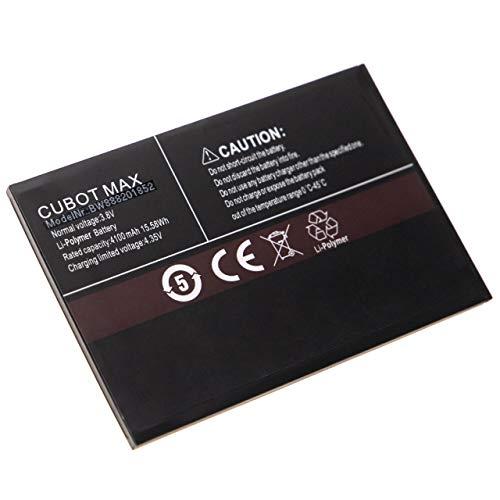 vhbw Akku kompatibel mit Cubot Max, Umax Handy Smartphone Telefon (4100mAh, 3,8V, Li-Polymer)