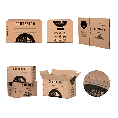 BOXPACKING | Lot de 10 Boîtes en Carton pour Déménagement | 43x30x25 | Avec Poignées | Épaisseur Standard de Haute Résistance