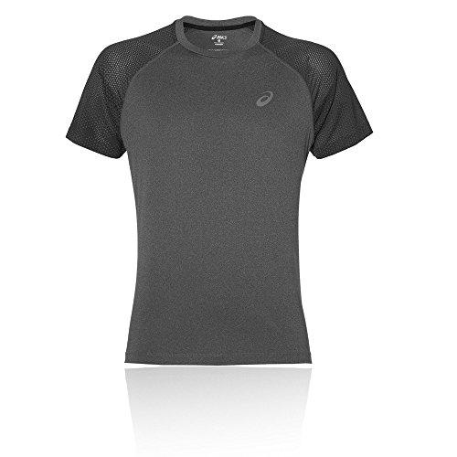 ASICS Herren Lite-Show Short Sleeve Laufshirt, Dark Grey Heather, M