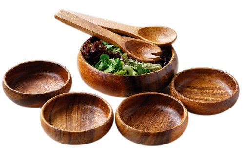 Premier Housewares Monkey Pod Salad Set - 7 Pieces (Kitchen & Home)
