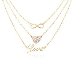 Goldtone with Clear Infinity, Iced Out Heart, & Love Pendant 3 Piece Bundle Adjustable Link Necklaces