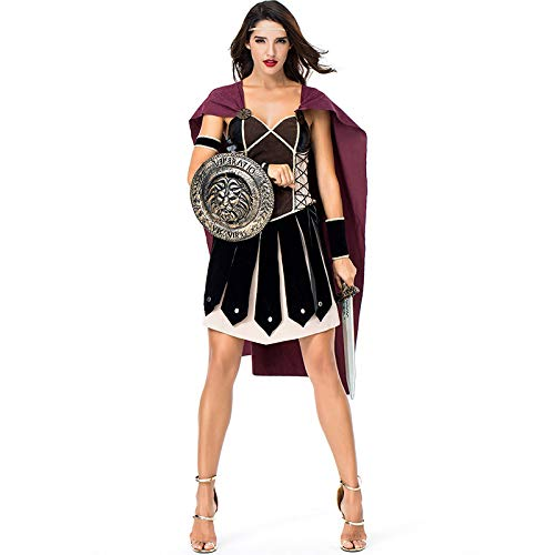 COSOER Disfraz De Mujer Guerrera Espartana Ropa Antigua De Arena Romana Ropa De Fiesta De Halloween,Multi-Colored-XL