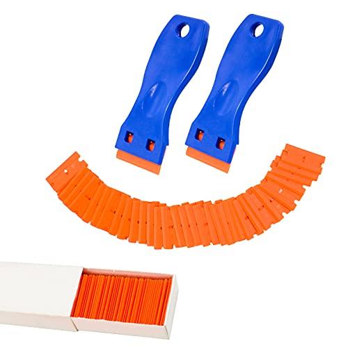 Plastic Razor Blade Scraper Knife, 2 Pack Scraper Tool +30 PCS Replacement Blades Sticker Decal Sticker Remover Scraper Tool for Auto Window Tint Vinyl Tool Application, Easily Remove & No Scratched