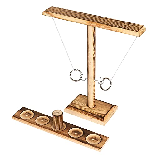 FDKOBE Ring Games with Shot Ladder Bundle,2 Players Outdoor Indoor Handmade Wooden Ring Hook Throwing Game for Adult Party Games,Garage Games,Parent-Child Interactive,Camping
