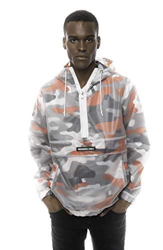 Translucent Camo Print Jackets for Men Casual, Windbreaker Men, Half Zip Pullover Hooded Jacket (Orange, M)