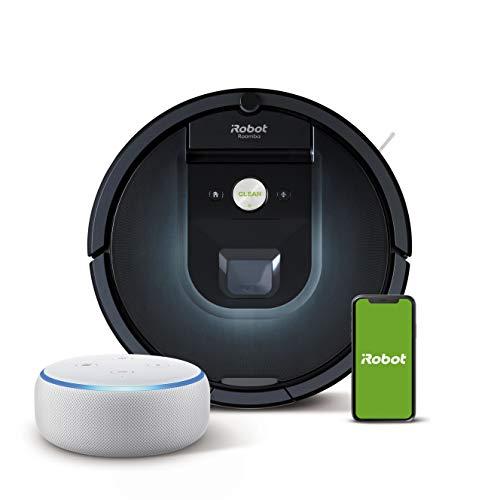 iRobot Roomba 981 Saugroboter mit 3-stufigem Reinigungssystem, Raumkartierung, Teppich-Turbomodus, App-Steuerung + Echo Dot (3. Gen.) Intelligenter Lautsprecher mit Alexa, Sandstein Stoff