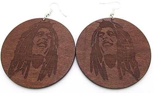 Par de marrón de madera Bob Marley pendientes. 6cm de diámetro. étnico Rasta África joyas