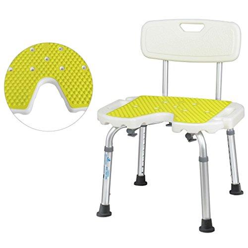 Yuany toiletstoel, Deluxe in hoogte verstelbaar aluminium bad/douchestoel met rug en douchekop stoel (Maat: A)