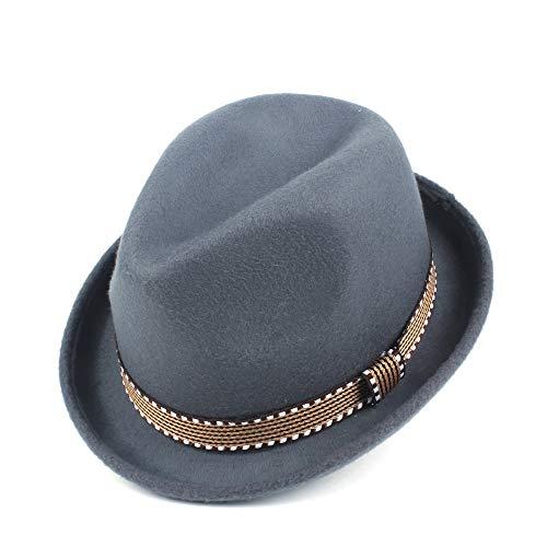 YUANBO WU Gentleman Cap Topper Sombrero de Copa Sombrero de ala Jazz Atractiva Mujer de Piel Sombrero Inteligente (Color : Gris, Size : 56-58)
