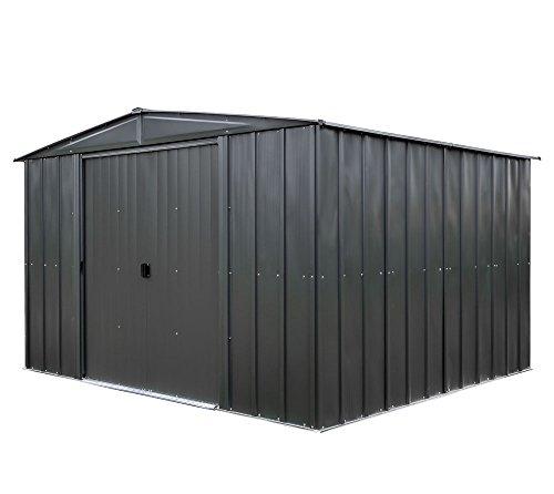 Spacemaker Metallgerätehaus Gartenhaus aus Metall 10x10 grau 313x297 cm Schuppen Geräteschuppen