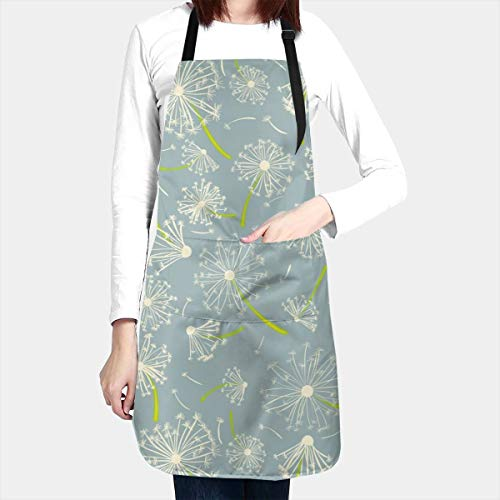 Dandelion Print Apron Floral Water Proof Baking Apron for Women Men with 2 Front Pockets and Adjustable Neck & Long Ties for Everyday Basic Home Kitchen Artist Crafting Restaurant