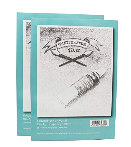 2er Set Skizzenblock A3 je 30 Blatt, Zeichenblock für Bleistift- und Kohlezeichnungen, hochwertiges seidenweißes Papier, säurefrei