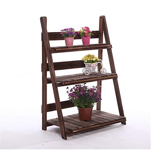 Sap - Soporte para macetas de 3 capas plegable para jardín, maceta de madera, ideal para casa, jardín, terraza y personalidad, madera, A, Small