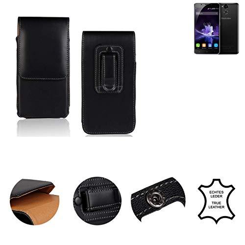 K-S-Trade® Gürtel Tasche kompatibel mit Blackview P2 Handy Hülle Leder Schwarz, 1x