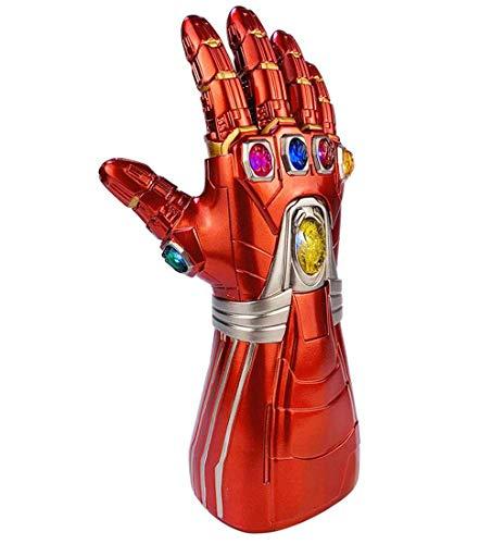Huiiv Iron Man Infinity Gauntlet Led Endgame Tony Stark Thanos Guantes de PVC Rojo con Brillantes Gemas de Poder Réplica Adulto Halloween Cosplay Disfraz Colección de artículos