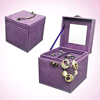 Family Storage Chinese Palace Style Three-Layer Lockable Jewelry Box Case Mirrored Storage OrganizerGift Case(Pink) (Color : Purple)
