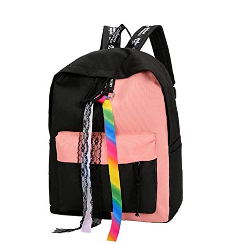 Contrast Color Large Capacity Schoolbag Fashionable Laptop Backpack Popular Rucksack with Colorful&lace Ribbons for Girls Pink