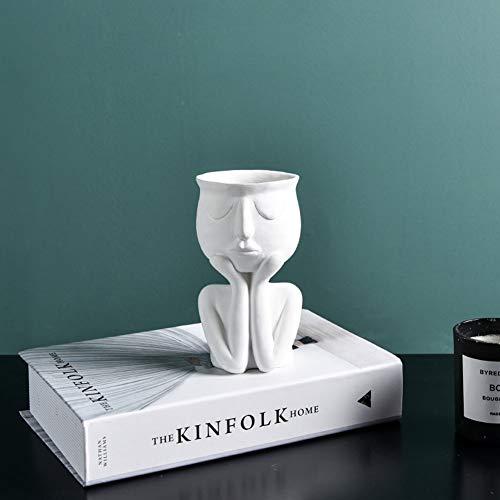 NaisiCore Blumentöpfe, Menschliches Gesicht Blumentopf Harz-Blumen-Vasen, Nordic abstrakte Skulptur Sukkulente Kaktus Topf Desktop-Vase Ausgangsdekoration Ornament (Künstliche Blumen Nicht im