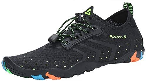 SAGUARO Escarpines Zapatos de Agua Calzado Playa Zapatillas Deportes Acuáticos para Buceo Snorkel Surf Natación Piscina Vela Mares Rocas Río para Hombre Mujer (Negro,38 EU)