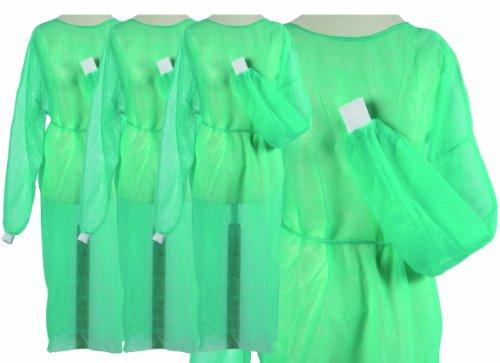 Vlieskittel OP Einwegkittel Einmalkittel grün mit Bündchen 50 (5x10) Stück Größe: 130x155cm Einmal Schutz Kittel Besucherkittel Profi-Qualität