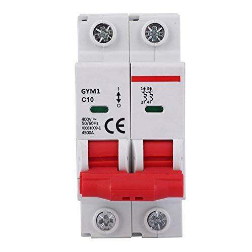 Interruptor de protección de circuito, 1pc GYM1 Interruptor de circuito en miniatura 2P Interruptor de aire de tamaño pequeño Protección de circuito 400VAC 50/60Hz(10A)