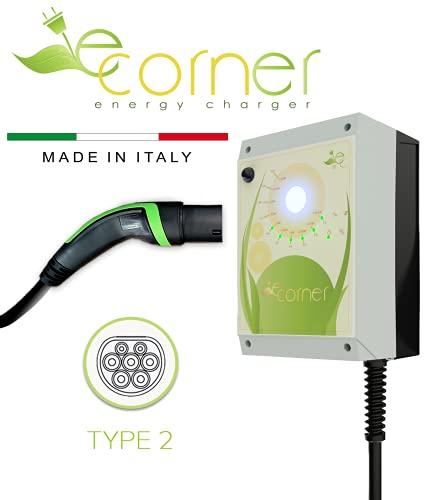 E-Corner Wall-Box Stazione di ricarica veicoli elettrici con connettore Tipo 2 | Potenza regolabile fino a 7.4 kW 32A | Magnetotermico e Differenziale Tipo B già installati | Made in ITALY
