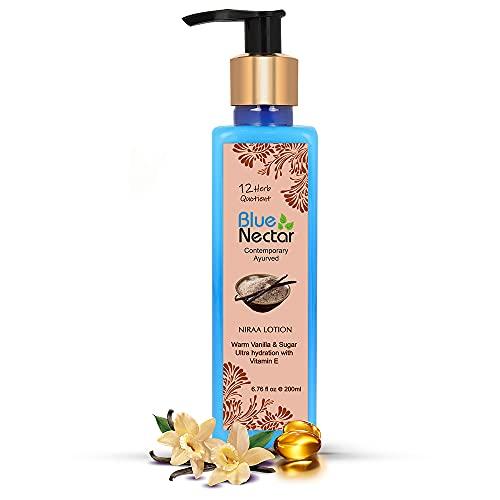 Blue Nectar Shea Butter Warm Vanilla and Sugar Body lotion Cream with Vitamin E for ultra hydration (12 Herbs, 200 ml)