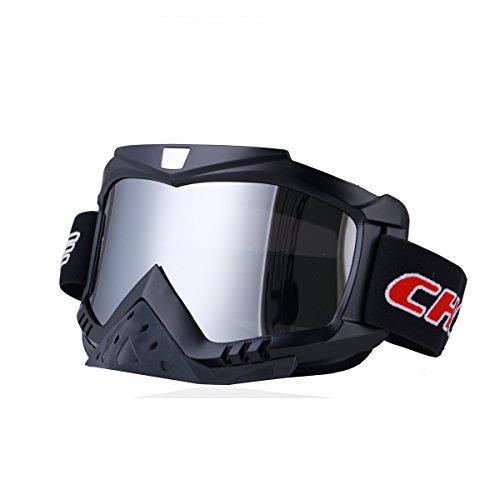 Madbike Occhiali motocross per motocicletta Sport all'aria aperta Dirt Bike ATV MX Occhiali sportivi fuori strada (silver)
