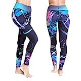 Platinum Sun Women's Swim Workout Pattern Leggings Wetsuit Pants Tights UPF 50+ (Mystica - M) Purple