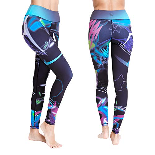Platinum Sun Women's Swim Workout Pattern Leggings Wetsuit Pants Tights UPF 50+ (Mystica - S) Purple