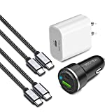 """VELOGK USB C Fast Charger Kit for Google Pixel 5/4/4a/4XL/3/3a/3XL/2, iPad Pro 11'/12.9""""/iPad Air 4, Samsung Galaxy, 18W Pixel Wall Charger+27W PD Car Charger+2x Nylon-Braided Type C-to-C Cable(3.3ft)"""